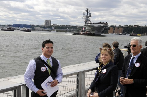 Capelin Communications' Anthony Angelico helps coordinate Skanska's presence at the return of the Intrepid