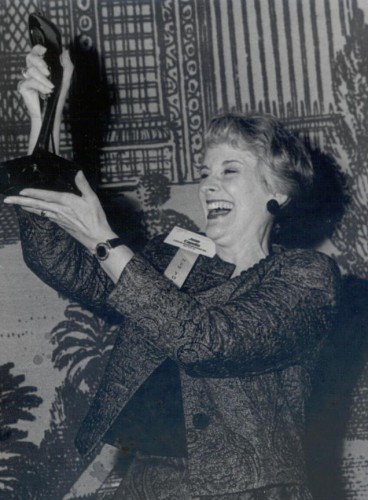 Joan receiving the SMPS Marketing Acheivement Award, 1990